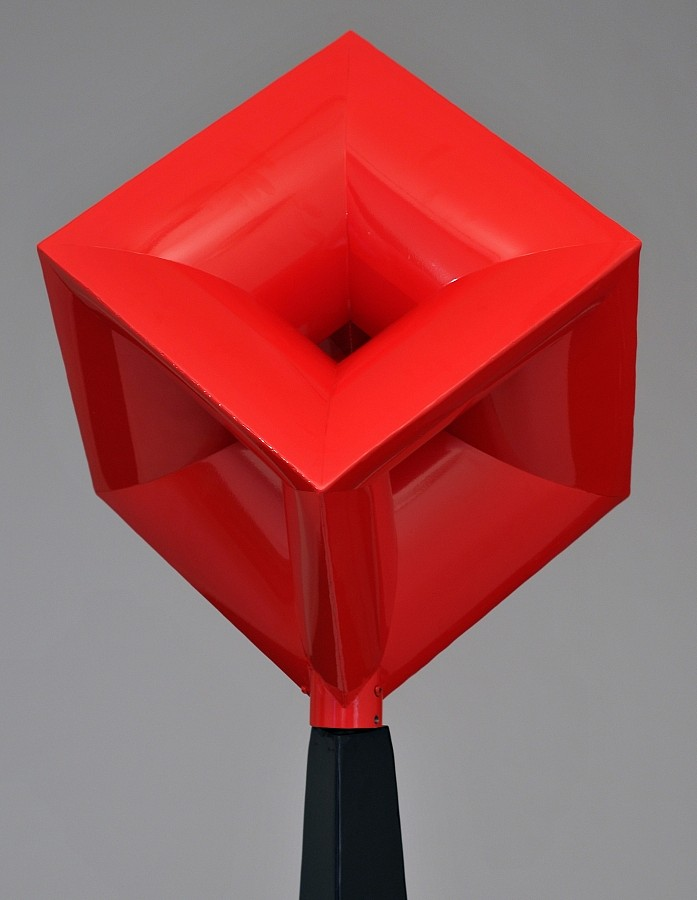 "John Simms, Red Imploding Cube (18"") Powder Coated Mild Steel"