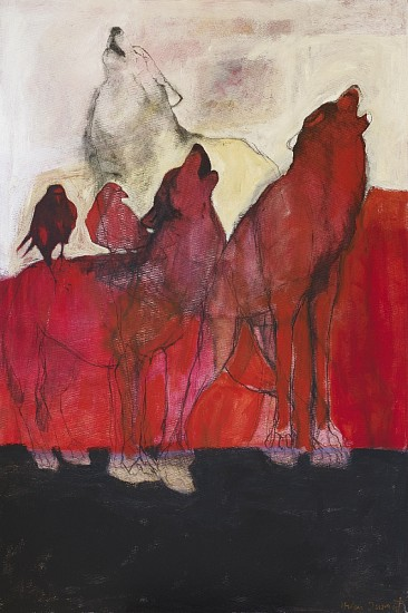 Helen Durant, Song in Red 2016, Acrylic, Charcoal, and Pastel on Canvas