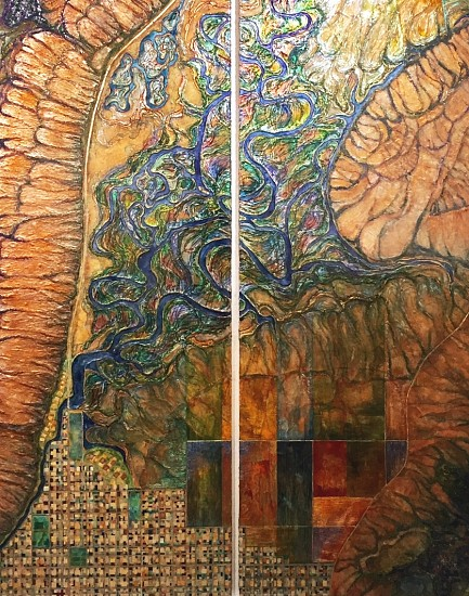 Monica Aiello, Sanctuary Jackson Hole 2017, Acrylic, Ink, Fiber, Paper on Panel