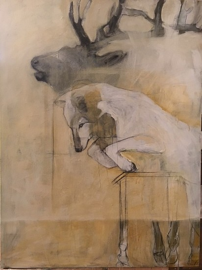 Helen Durant, Elk and Wolf 2017, Acrylic and Charcoal on Canvas